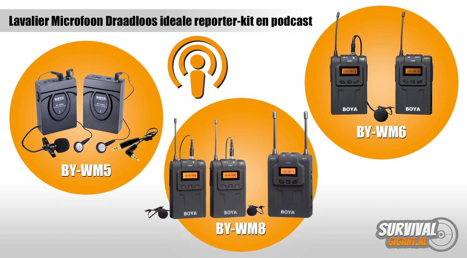 Lavalier Microfoon Draadloos ideale reporter-kit en podcast microfoon
