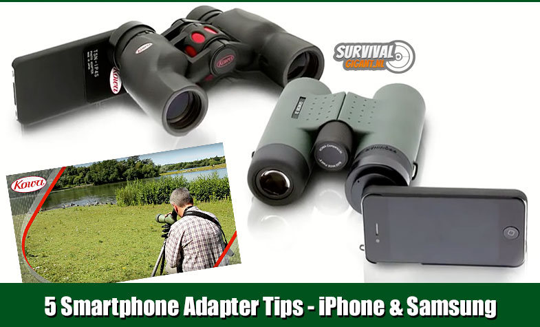5 iPhone en Samsung Smartphone Adapter Tips voor Spotting scope en Verrekijker