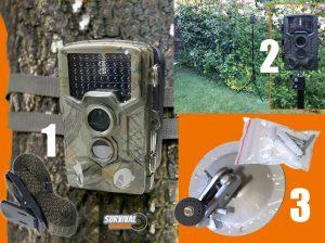 De 3 Bevestigingsmogelijkheden van de wildcamera; boom, wandbeugel of statief