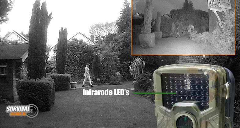 Hoe werkt de wildcamera in de nacht? De Infrarode LED's. In bovenstaande afbeelding zie je een shot van de wildcamera in de schemering en een in de nacht.