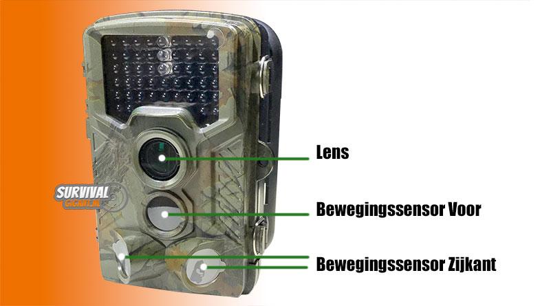 Wildcamera sensoren voor en zijkant voor 180 graden detectie
